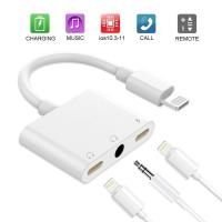 China 3 In 1 Apple Iphone X Headphone Adapter 3.5mm Headphone Jack White Color on sale