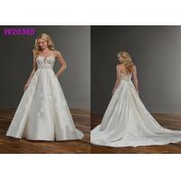 Buy Satin Pearl Beading Ornately 3D Floral Applique Wedding Dress Slim Plunge Neck at wholesale prices