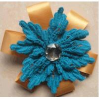 Quality Cotton lace Artificial Flower Corsage woven for clothes , handmade woven flowers for sale