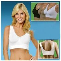 Buy White Anti - Bacterial Nylon / Cotton Light 38A Elastic Padded Front Closure Sports Bra at wholesale prices