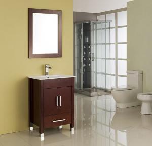 China MDF / Solid Wood Board Walnut Single Sink Vanity Cupboard 15mm Door Thickness on sale