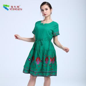 China Short Sleeve Waist Green Ladies Cotton Dresses , Floral Cotton House Dresses on sale