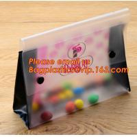 Quality Office school filing supplies A4 plastic portable document file bag /envelope pocket file folder with button for sale