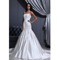 Quality Graceful Strapless Sweetheart White Satin Wedding Gowns Bridal Dress With Lace for sale