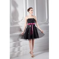 Quality Fashionable Tulle Womens Cocktail Party Dresses Strapless A Line Gowns , Black for sale