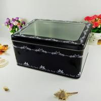Buy cheap Black Metal Tin Container With Silver Bottom Tranparent Window product
