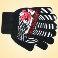 Quality 100% Acrylic Knitted Glove with Print on the Back, Available in Various Colors for sale