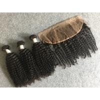 Quality 100% Peruvian Human Hair Weave Virgin Kinky Curly Hair with 13x4 Lace Frontal for sale