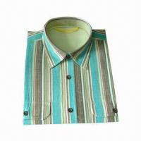 Quality Men's Short-sleeve Y/D Casual Shirt with Two Chest Pockets, with Different Color Vertical Stripes for sale