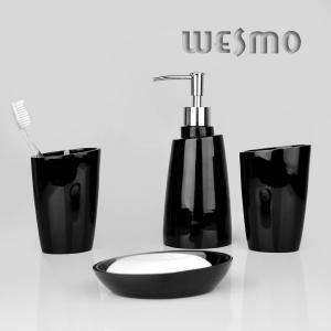 Quality 4 Piece Abrasion Resistance Black Polyresin Bathroom Set for sale