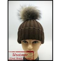 Quality Winter Lady Knit Beanie Hat With Real Raccoon Fur ball for sale