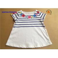 China Floral Screen Print Baby Short Sleeve Shirt Crew Neck Childrens White T Shirts on sale