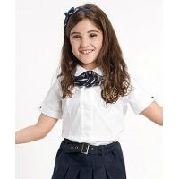 China White organic cotton kids primary school uniform with short sleeve on sale