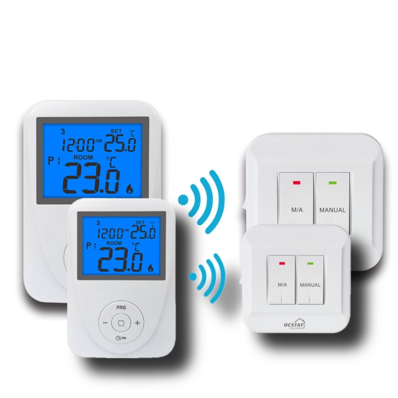 Quality Wireless Remote Sensor Controlled Thermostat / Domestic Programmable Thermostat for sale