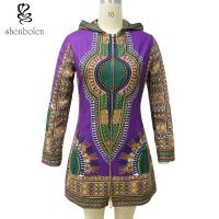 China Zipper Front African Ladies Jackets With Hoodie Long Sleeve Wax Printed on sale