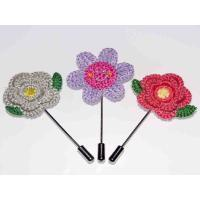 China Knitted Fabric Handmade Flower Brooch 1.77*3.54 Inch For Suit Wedding Groom on sale