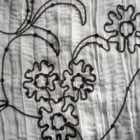 Quality Chiffon Ribbon Embroidered Corrugate Fabric, Made of 100% Polyester, Available in Various Colors for sale