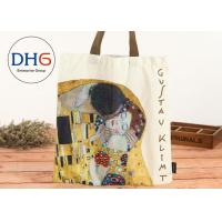 Quality Personalized 100% Cotton Canvas Tote Bags Red Body Yellow Handle High Convenience for sale