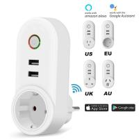 Quality Smart WiFi Power Plug Outlet Socket with 2PCS USB Port App Control Timer Function Compatible with Amazon Alexa Google for sale