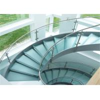 Buy cheap 304s.s indoor curved glass staricase with tempered clear glass railing top railing from wholesalers