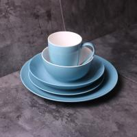 Quality Fahion blue coloured glaze dinner set 16 pcs with gif box/dinner plate/bowl/mug/new bone china for sale