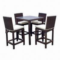 China All-weather Wicker 5-Piece Outdoor Bar Set with Table and Chairs on sale