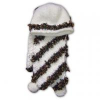 Quality Knitted Hat and Scarf Set, Made of 95% Acrylic and 5% Wool for sale