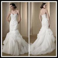 Quality Vintage 2014 Organza Lace Mermaid Wedding Gowns , Trumpet Bridal Dresses for sale