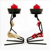 China Banquet Party Snack Dish Tableware Stand Iron Candlestick African Woman Decoration Candle Holders on sale