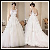 Vintage Scoop A Line Wedding Dresses Lace Tulle Beaded Bridal Gowns