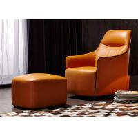 Quality OEM Bedroom Modern Style Wooden Lounge Chair With Orange Color Leather for sale
