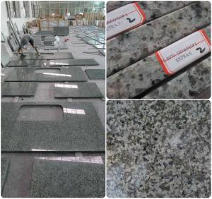 Bathroom / Kitchen Green Solid Granite Worktops 0.01% Water Absorption