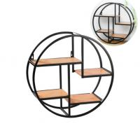 China Creative Wall Iron Shelf Round Floating Shelf Wall Storage Holder and Rack Shelf for Pantry Living Room Bedroom Kitchen on sale