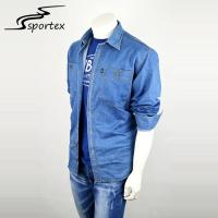 Quality Spring / Autumn Mens Denim Shirts Long Sleeve Custom Pattern With Pocket for sale