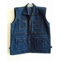 Quality mens vest in 100% cotton, denim, jean, black, fishing vest, S-3XL for sale