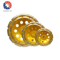 Quality Concrete and Stone Polish Segmented Turbo Double Row Diamond Cup Grinding Wheel for sale