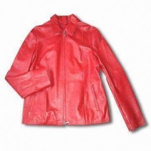 China Women's Leather Jacket with 100% Nylon Lining on sale