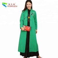 Quality Quilted Embroidery Vintage Chinese Coat , Cotton Long Winter Coats For Ladies for sale