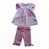 Quality Baby Clothing Set, Made of 95% Cotton/5% Elastane y/d Stripe Jersey, Consist of Dress and Leggings for sale