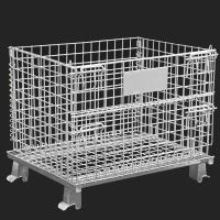 Quality Movable Metal Storage Cage , Folding Anticorrosion Wire Mesh Container for sale