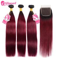 Silky Straight Ombre Remy Hair Weave Burgundy Color 3 Bundles With Lace Closure