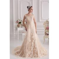 Quality Champagne Off The Shoulder A-line Sweep Train Romantic Lace Wedding Gowns With Beads for sale
