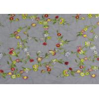 Quality Soft Colored Embroidered Floral Lace Fabric / Net Lace Fabric For Women Wedding Dress for sale