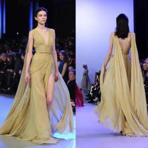 Deep V Sexy Back High Slit Long Style Evening Dresses For Women , Banquet Chiffon Dress