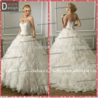 Quality Elegant Puffy Skirt Ruffles Organza Ball Gown Wedding Dresses with sweetheart neckline for sale
