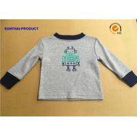Quality 100% Cotton Children T Shirt Long Sleeve Round Neck Heather Gray SGS Certified for sale