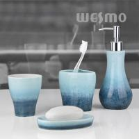 Buy cheap Blue Gradient Colors On Bodies Low Water Absorption Porcelain Bath Accessories (WBC0623C) product