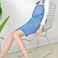 China Casual Wear Jumpsuit Suspender Skirt For Women , Denim Medium Length Dress on sale