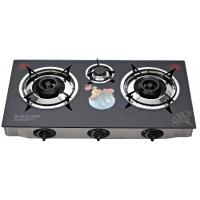 Quality Indoor Glass Top Gas Stove 3 Burner , Table Top Three Burner Gas Stove for sale