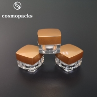 Buy cheap 5g 10g 15g 30g Gold / Black Lids Clear Square Cream Jars Cosmetic Packaging from wholesalers
